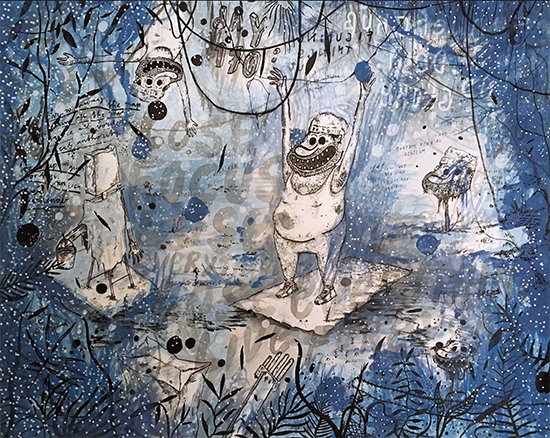 Sebastian Schlicher  Sonnengruss mit Dew und Glory, 2017 ink, gouache, felt-tip paintmarker on paper 40 x 50 cm