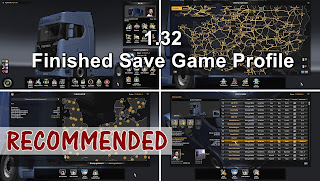 ETS 2 - 1.32 Finished Save Game Profile, ets 2 %100 save game, ets 2 %100 profile, ets 2 finished save game, ets 2 bitirilmiş oyun profili, ets 2 %100 discovered map, ets 2 profiles