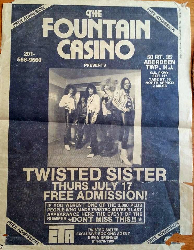 Twisted Sister ad from the Aquarian July, 1980