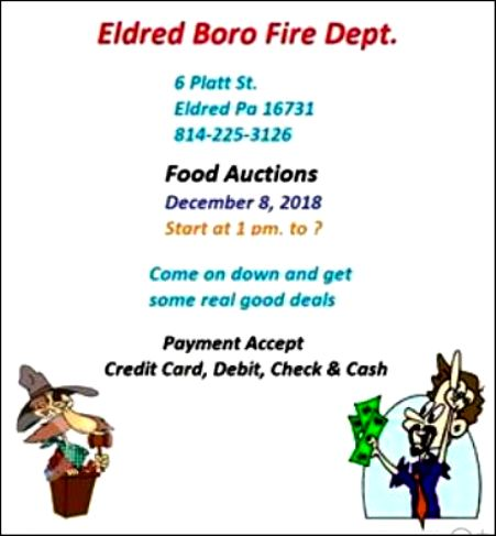 12-8 Food Auction, Eldred Boro FD