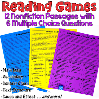 These reading games are perfect for test prep! This set includes 12 nonfiction passages written for 4th and 5th grade students. After reading each passage, students answer 6 multiple choice questions. Reading skills include main idea, text structures, context clues, cause and effect, citing text evidence, figurative language, and more!