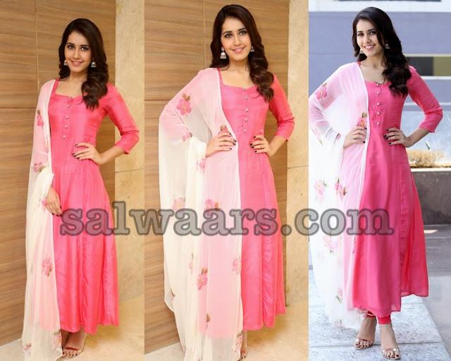Rashi Khanna Pink Salwar Kameez