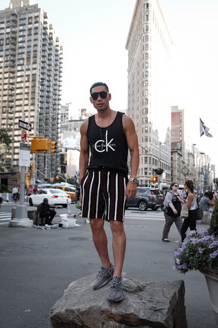 Wearing Calvin Klein Logo Tank Top, Bold Stripe ASOS Shorts, Yeezy Boost | Asian Male Model and Blogger