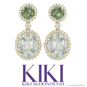Kate Middleton jewels KIKI McDONOUGH Green Tourmaline and Green Amethyst Oval Drop Earrings