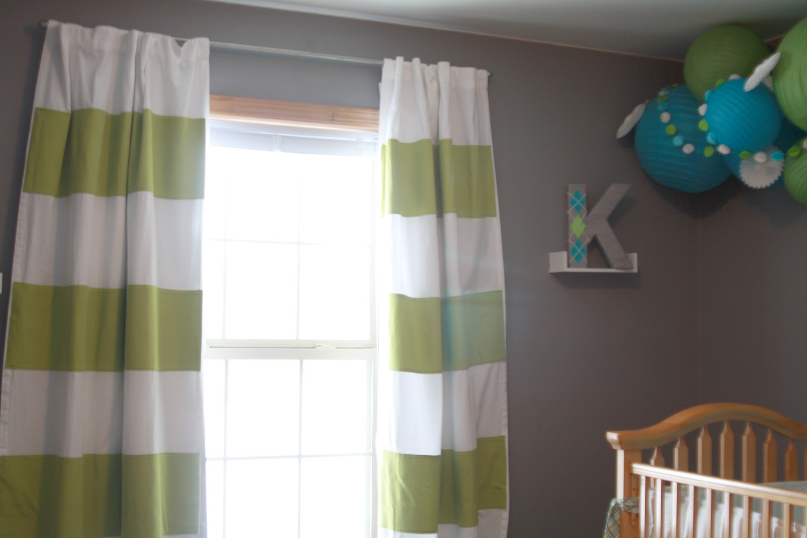 Miller Moments Baby Boy Nursery Reveal Modern Chenille Blackout Blue Olive Green Striped Curtains
