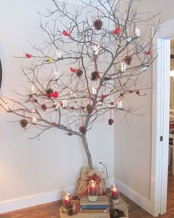 A simple Charlie Brown Christmas tree at The Crossings Bed & Breakfast
