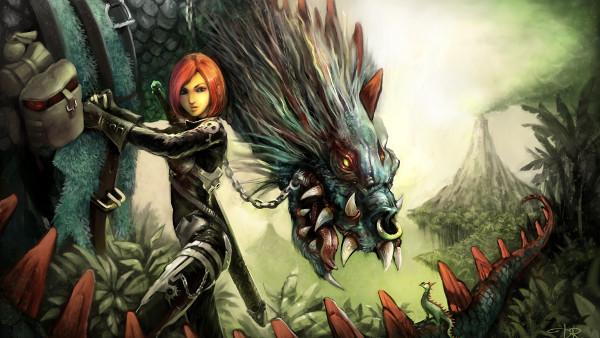 Fille Guerrière Dragon - Fond d'Écran en Full HD