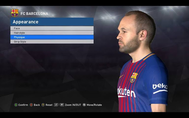 Face Andres Iniesta PES 2017