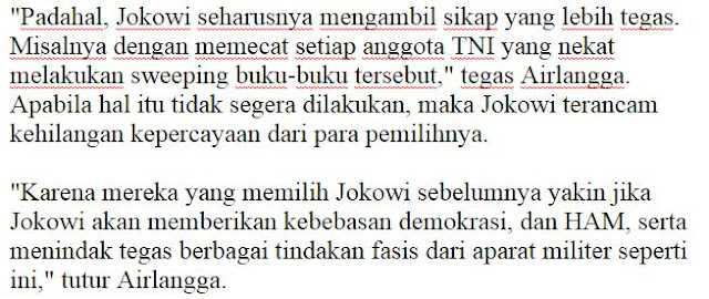 Banyak Pihak Yang Desak Jokowi agar Pecat Anggota TNI yang lakukan Razia Buku Berbau Partai Komunis (PKI) Jika Tidak Maka Jokowi bisa kehilangan kepercayaan pemilihnya - Commando