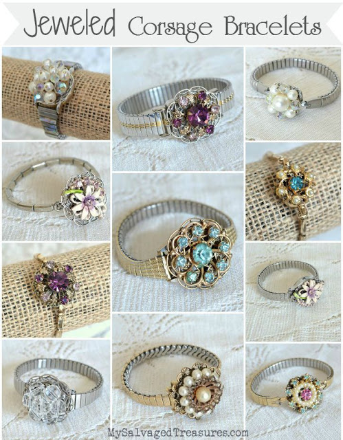 repurposed vintage earrings and watch bands corsage bracelets