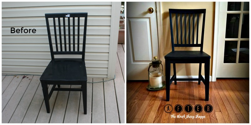 Chair before and after shiny to matte finish