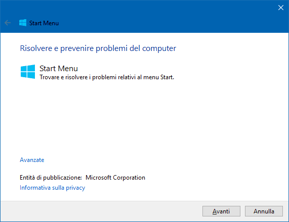 Strumento Microsoft per riparare problemi menu Start Windows 10