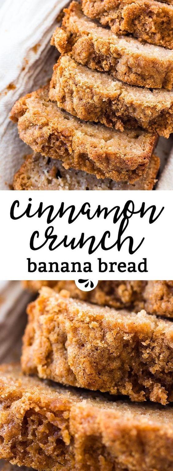 Whole Wheat Cinnamon Crunch Banana Bread Recipe