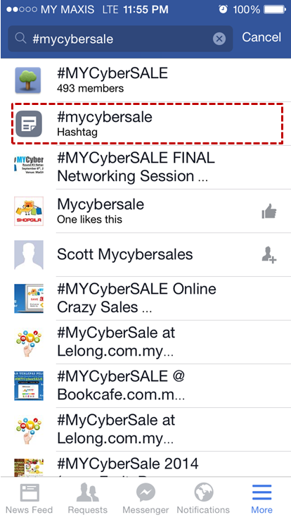 Follow #MYCyberSALE hashtag on Facebook mobile