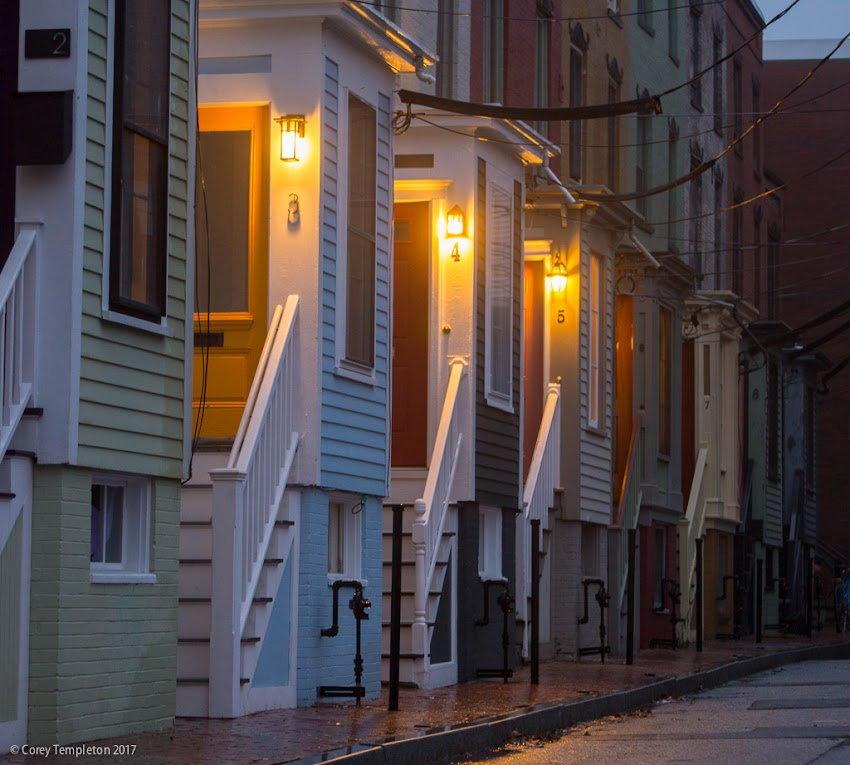 Portland, Maine USA April 2017 photo by Corey Templeton. The timeless rowhouses at Stratton place in the West End on a rainy evening.