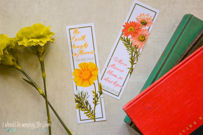 Floral Quote Bookmarks