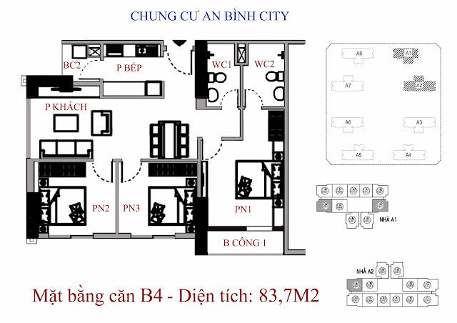 mặt bằng căn hộ b4 - Diện tích 89,6m2