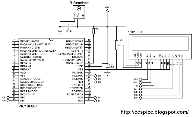 rc5 decoder with pic16f887 microcontroller and ccs c compiler