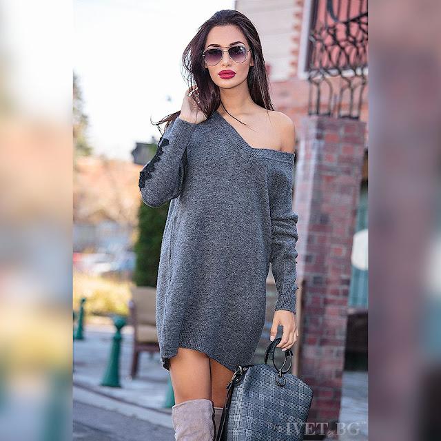 Μακρυμάνικο γκρι μπλουζοφόρεμα MOLINA GRAFIT