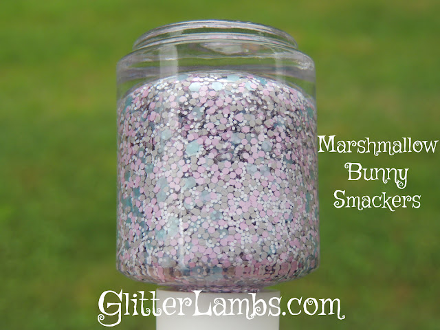 """I took this picture of Glitter Lambs """"Marshmallow Bunny Smackers"""" nail polish outside in natural light. Such pretty glitters.  Want to purchase Glitter Lambs """"Marshmallow Bunny Smackers"""" glitter nail polish? It's available at Glitter Lambs Polish Etsy Shop."""