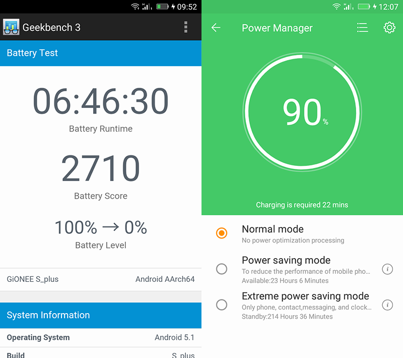 Gionee Elife S Plus battery test