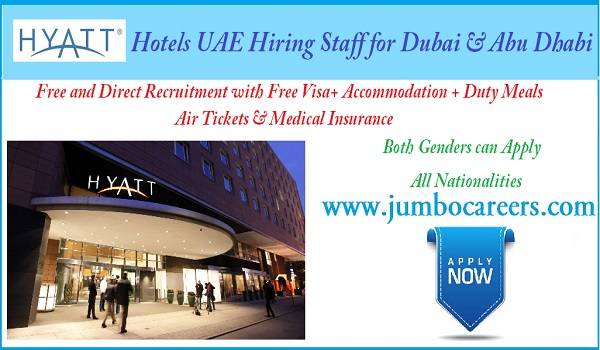 Hyatt Hotel Dubai Job Vacancies, Salary details of hotel jobs in Dubai and Abu Dhbai,