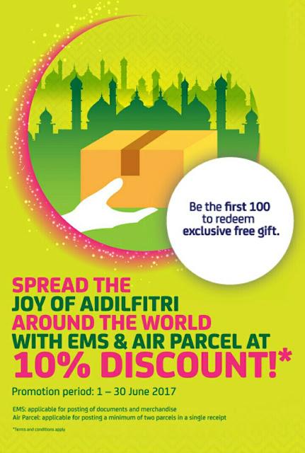 Pos Malaysia Beri Diskaun Percuma 10% Untuk EMS Dan Air Parcel Sempena Hari Raya