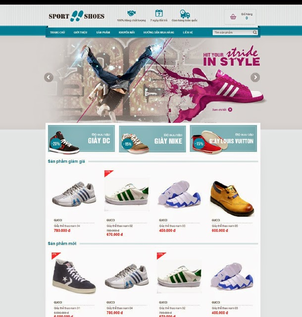 thiết kế web bán hàng giầy thể thao