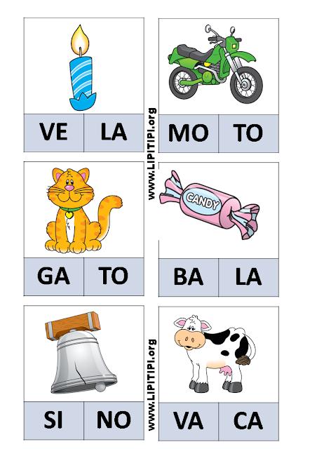 Jogo Pedagógico Fichas com palavras de duas sílabas