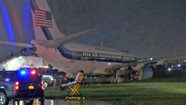US election 2016: Trump running mate Mike Pence's plane skids off runway