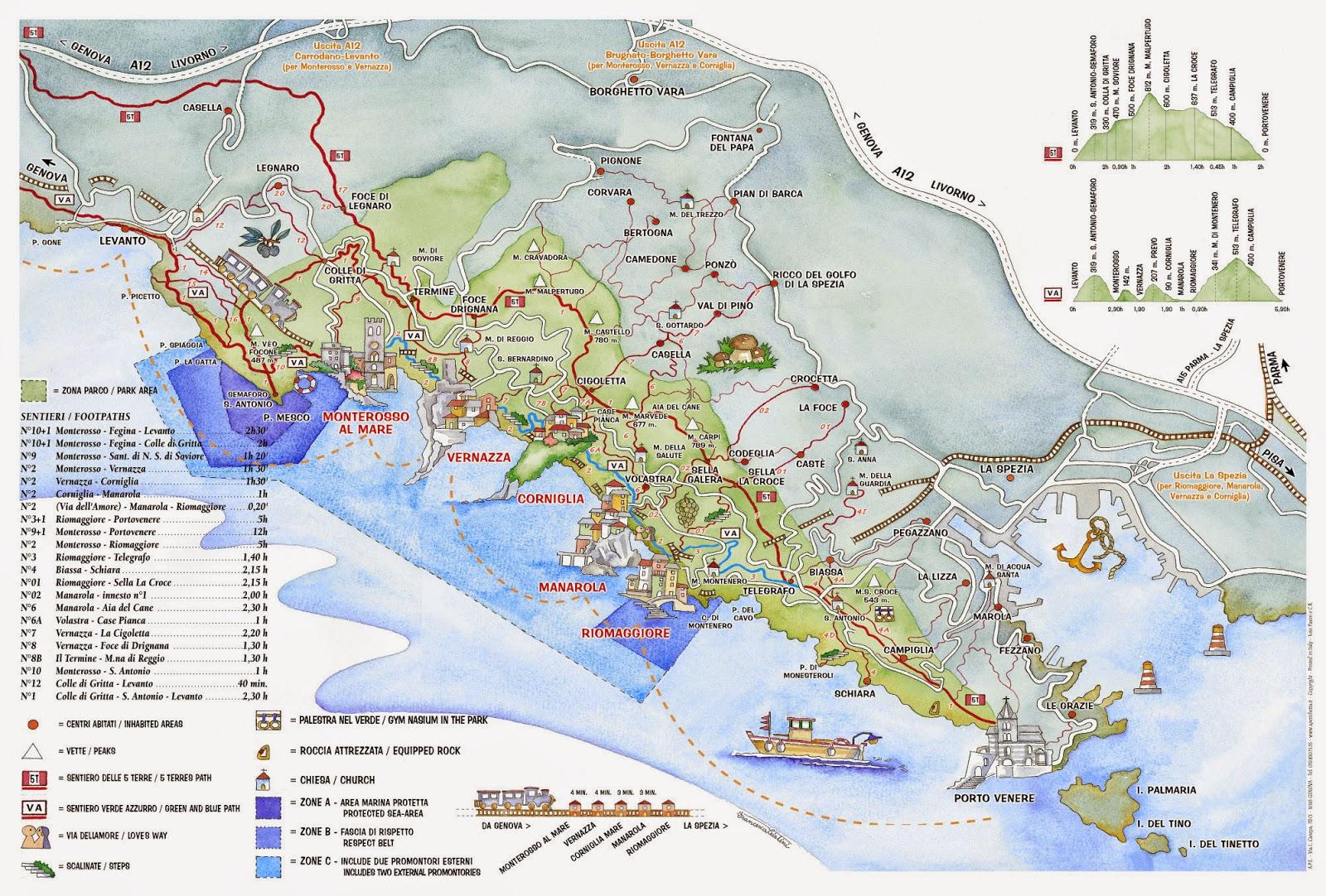 Map of Cinque Terre, RioMaggiore, Italy