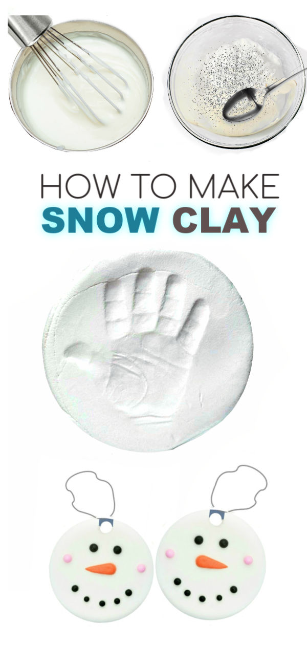 SNOW CLAY : great for winter arts & crafts & for making ornaments (easy recipe!) #snowclay #snowclayrecipe #snowrecipesforkids #makesnow #ornamentsdiy #kidmadeornaments #ornamentcraftsforkids #winteractivitiesforkids #growingajeweledrose