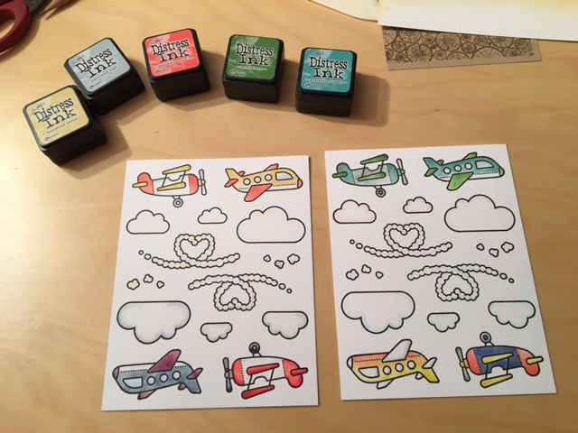 Coloring the images with Distress inks