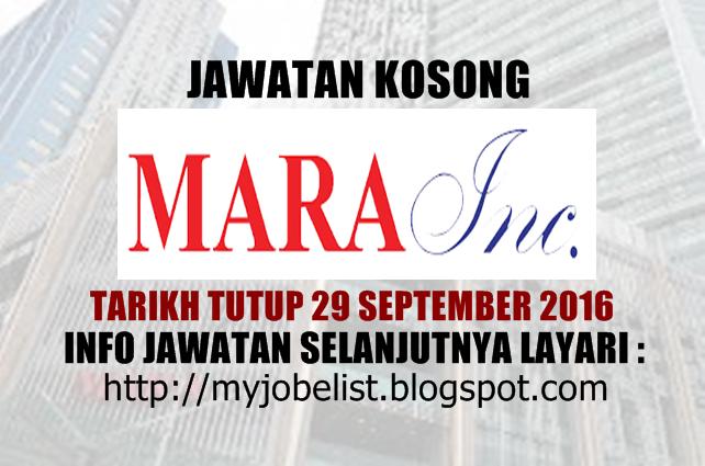 Jawatan Kosong MARA Incorporated Sdn Bhd September 2016