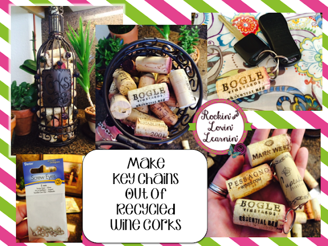 Make keychains out of recycled wine corks