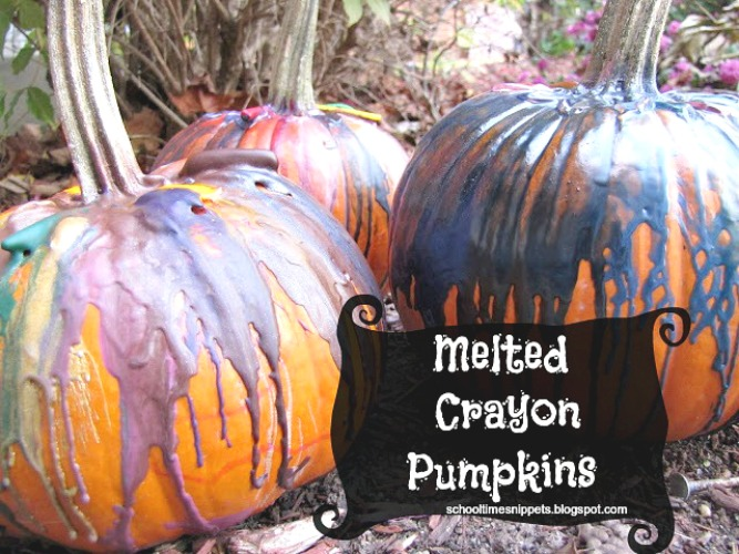 The Coolest Pumpkin Decorating Idea Using Melted Crayons School