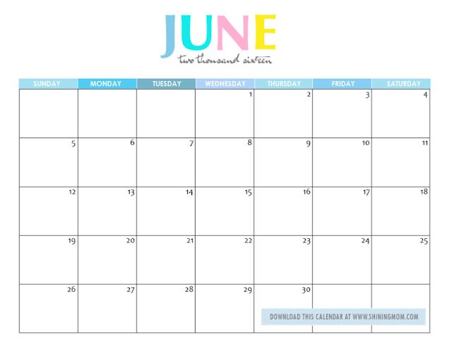 Calendar, June 2016 Blank Calendar, June 2016 Calendar Printable