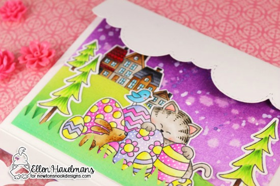 Interactive Easter Card by Ellen Haxelmans | Newton's Easter Basket Stamp Set and other stamps and dies by Newton's Nook Designs #newtonsnook #handmade