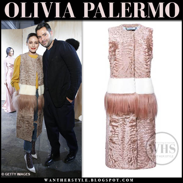 Olivia Palermo wearing sleeveless pink fur and feather cara mila coat, jeans and white jimmy choo anouk pumps new york fashion week outfits 2019