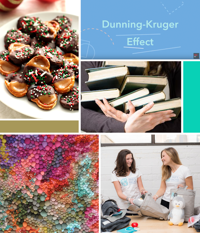 Recipe caramel chocolate pretzels, Pab's packs nonprofit , Dunning-Kruger Effect, textile art, reading