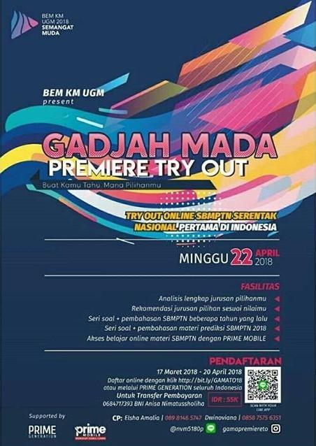 Gadjah Mada Premiere Try Out Online 2018 UGM