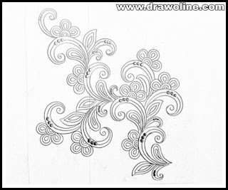 Floral arrangement with pencil sketch on tracing paper for hand emroidery saree designs and ladies dress design drawing.