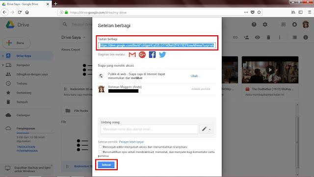 Jika sudah Sobat bisa klik Selesai. Untuk Link downloadnya Sobat bisa mengkopi URL yang tersedia di atas.