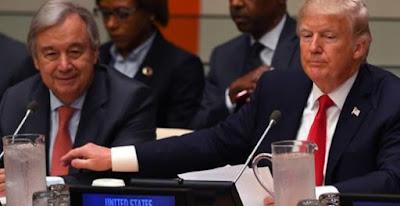 United Nations Secretary General Antonio Guterres and Donald Trump