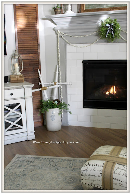 French Country Farmhouse Fireplace-DIY Crosses-Mini Wreath-Button Garland-Sherwin Williams-Dorian Gray-From My Front Porch To Yours