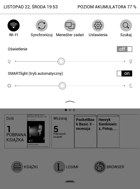 zrzut ekranu przedstawiający górne rozwijane menu czytnika PocketBook TouchHD2