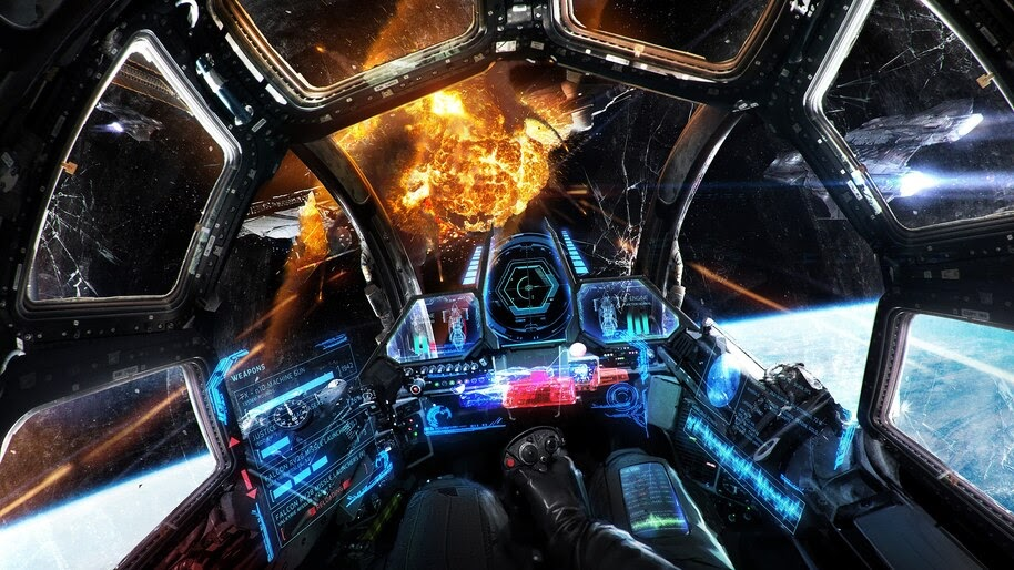 Sci-Fi, Spacecraft, Dashboard, Pilot, Outer Space, Explosion, 4K, #4.72