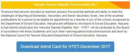 image : Download Admit Card for HTET-December 2017 @ TeachMatters