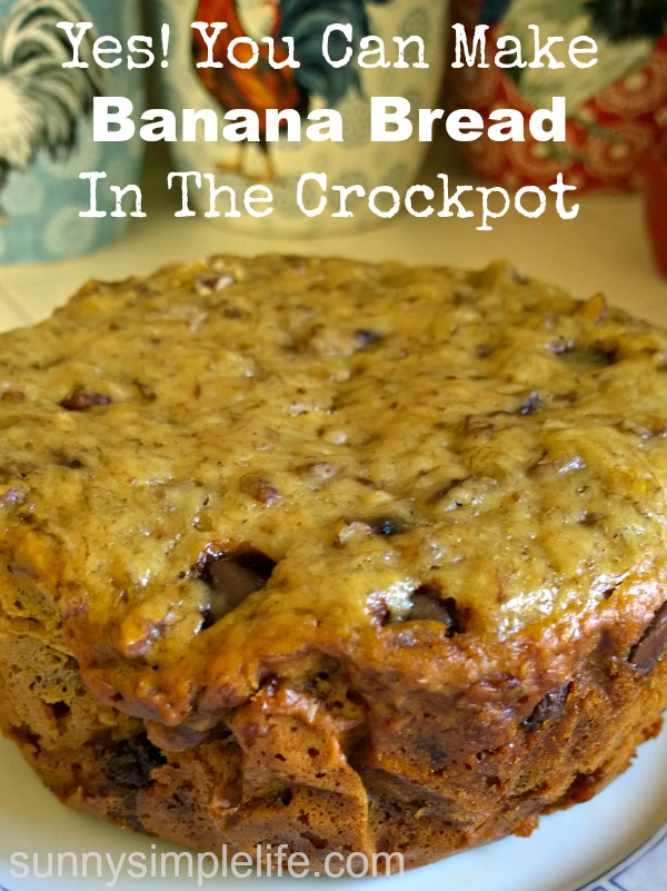 slow cooker banana bread, baking in the crock pot