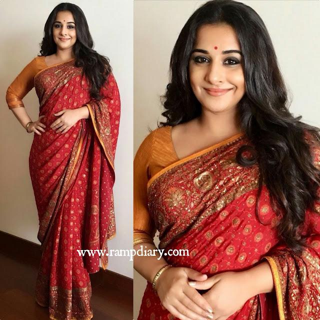 Vidya Balan In Ritu Kumar for tumhari sullu trailer launch
